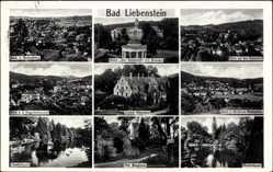Postcard Bad Liebenstein im Wartburgkreis, Hotel Kaiserhof, Schloss Altenstein, Burg
