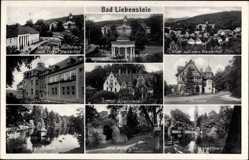 Postcard Bad Liebenstein, Badehaus, Augenklinik, Hotel Kaiserhof, Elisabethpark