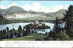 Postcard Bled Veldes Slowenien, Totalansicht mit Insel im See, Kirchturm