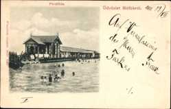 Postcard Siofok Fock Ungarn, Fürdöhaz, Freibad, Badegäste, Badehaus, Kurort