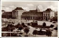 Postcard Zagreb Kroatien, Glavni kolodvor, Hauptbahnhof, Grünanlagen