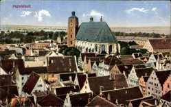Postcard Ingolstadt an der Donau Oberbayern, Blick über die Dächer auf die Kirche