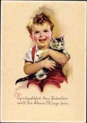 Künstler Ak von Czulik, Else, Lachendes Kind mit Hauskatze