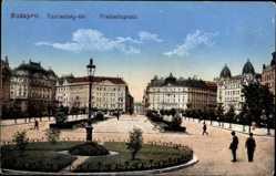Postcard Budapest Ungarn, Blick auf den Freiheitsplatz, Passanten, Häuser