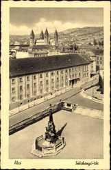 Postcard Pécs Fünfkirchen Ungarn, Blick auf einen Platz, Denkmal, Szechenyi ter