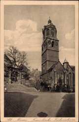 Ansichtskarte / Postkarte Meißen in Sachsen, Blick auf die Frauenkirche und das Tuchmachertor