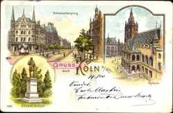Litho Köln am Rhein, Hohenzollernring, Bismarck Denkmal, Rathaus