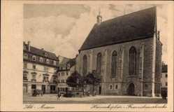 Ansichtskarte / Postkarte Alt Meißen in Sachsen, Heinrichsplatz und die Franziskanerkirche, Geschäfte