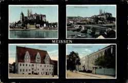 Ansichtskarte / Postkarte Meißen in Sachsen, Albrechtsburg, Dom, Porzellanmanufaktur, Rathaus