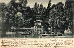Postcard Frankfurt am Main, Partie im Palmengarten, Ruderer, Gewässer, Wald