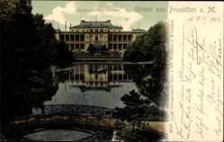 Postcard Frankfurt am Main, Blick auf den Zoologischen Garten, Teich, Eingang