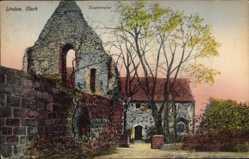 Postcard Lindow Mark, Blick auf die Klosterruine, Baum, Fenster, Mauerwerk
