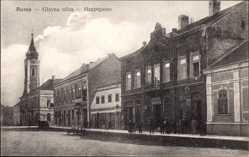 Postcard Ruma Serbien, Glavna ulica, Hauptstraße, Kirchturm, Mehlhandlung