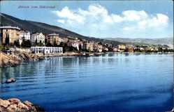 Postcard Abbazia Kroatien, Blick vom Südstrand zum Ort