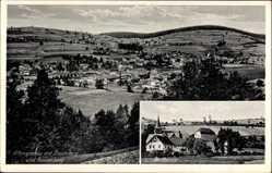 Postcard Altengronau Sinntal, Panorama mit Ziegenberg und Frauenberg, Kirche