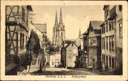 Postcard Marburg an der Lahn, Rotergraben, Häuser, Kirche