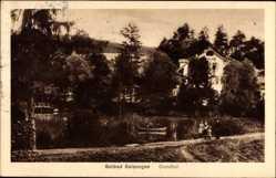 Postcard Bad Salzungen im Wartburgkreis, Blick auf den Grundhof, Gewässer, Ruderboot