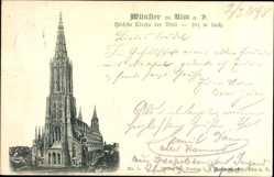 Postcard Ulm an der Donau Baden Württemberg, Blick auf das Münster, Kirche