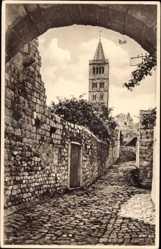 Postcard Insel Rab Kroatien, Kirchturm, Tordurchblick, Pflasterstein