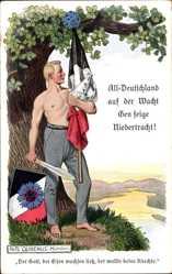 Künstler Ak Quidenus, Fritz,All Deutschland auf der Wacht gen feige Niedertracht