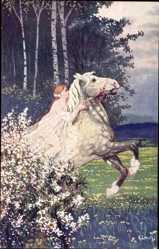 Künstler Ak Lerch, K., Frühlingseinzug, Frau auf weiße, Pferd