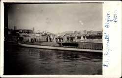 Foto Ak Französisches U Boot Regnault vor Algier 1929