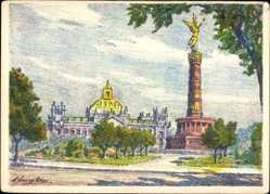 Künstler Ak Langkau, Berlin Tiergarten, Siegessäule, Reichstagsgebäude