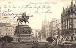 Postcard Köln am Rhein, Heumarkt mit Friedrich Wilhelm Denkmal, Reiterstandbild