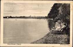 Postcard Wandlitz im Kreis Barnim, Strandpartie am Wandlitzsee, Segelboot