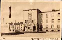 Postcard Pécs Fünfkirchen Ungarn, Universitäts Justiz Korps, Landesfahne