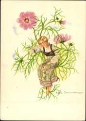 Künstler Ak Wasserkampf, Herta, Schlafendes Mädchen, Blumen