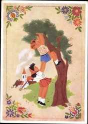 Künstler Ak Stredocesky, P. J., Junge klettert auf Baum