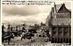Postcard Bergen Norwegen, Tyskebryggen, Promenade im Hafen, O. Nilssen