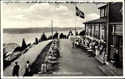 Postcard Bergen Norwegen, Floirestauranten, Restaurant, Terrasse, Fahnenmast