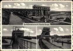Postcard Niederfinow Kreis Barnim, Schiffshebewerk, Obere Haltung, Untere Haltung