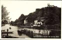 Postcard Hausen Bad Staffelstein am Main Oberfranken, Flusspartie, Schloss Banz