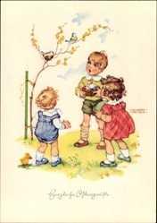 Künstler Ak Lungershausen, Glückwunsch Ostern, Junge mit Ostereiern, Vögel
