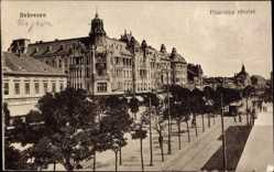 Postcard Debrecen Debrezin Ungarn, Piac utca reszlet, Straßenpartie, Häuser
