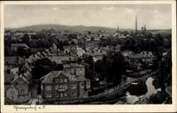 Postcard Schwarzenbach an der Saale Oberfranken, Totalansicht der Stadt, Fluss