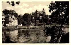 Foto Ak Wetzlar im Lahn Dill Kreis, Partie an der Lahn mit Blick auf den Dom