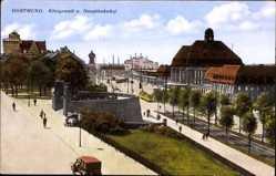 Postcard Dortmund im Ruhrgebiet, Königswall und Hauptbahnhof