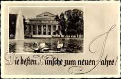 Postcard Stuttgart in Baden Württemberg, Ansicht Staatstheater, Brunnen, Schwäne