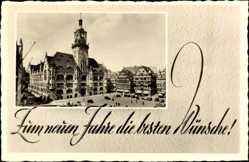 Postcard Stuttgart in Baden Württemberg, Blick auf das Rathaus, Neujahr