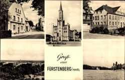 Postcard Fürstenberg an der Havel, Postamt, evangelische Stadtkirche am Marktplatz