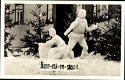 Ak Benneckenstein Oberharz am Brocken, Schneeplastik, Sage vom Ort