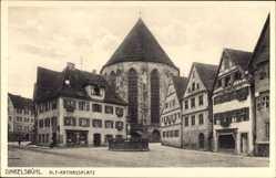 Postcard Dinkelsbühl im Kreis Ansbach Mittelfranken, Alt Rathausplatz, Brunnen