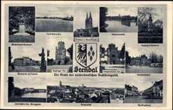 Wappen Ak Stendal in Sachsen Anhalt, Schwanenteich, Reichsbahnhof, Sperlingsberg