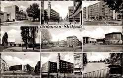 Foto Ak Oberhausen Sterkrade am Rhein, Hallenbad, Gondelweiher, Stadtmitte