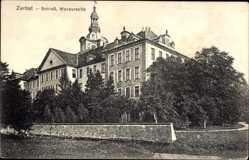 Postcard Zerbst in Anhalt, Blick auf das Schloss, Wasserseite, Fassade