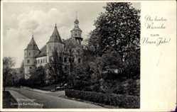 Postcard Schleusingen in Thüringen, Blick auf Schloss Bertholdsburg, Straße